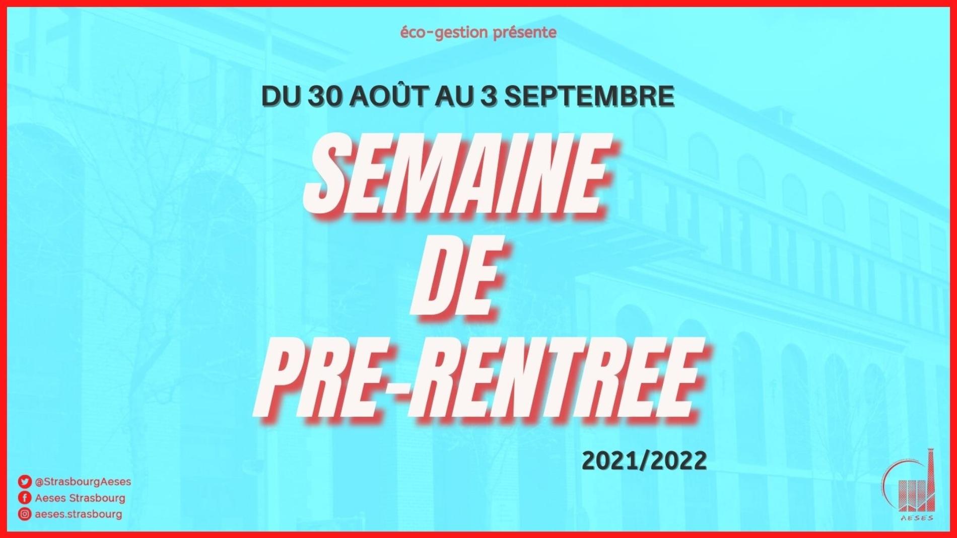 SEMAINE DE PRE-RENTREE